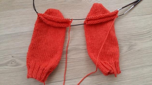 short row heel twee sokken tegelijk